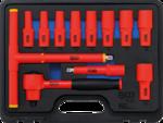 VDE-Steckschlussel-Satz Antrieb Innenvierkant 10 mm (3/8) SW 7 - 22 mm 12-tlg