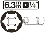 Steckschlüssel-Einsatz Sechskant, tief Antrieb Innenvierkant 6,3 mm (1/4) SW
