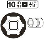 Steckschlussel-Einsatz Sechskant Antrieb Innenvierkant 10 mm (3/8) SW