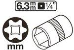 Steckschlussel-Einsatz E-Profil Antrieb Innenvierkant (1/4) SW E4-E11