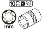 Spezial-Steckschlussel-Einsatz/Schraubenausdreher Antrieb Innenvierkant (3/8) SW 10-19mm