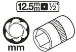 Spezial-Steckschlussel-Einsatz / Schraubenausdreher Antrieb Innenvierkant 12,5 mm (1/2) SW 8-41mm