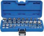Steckschlussel-Einsatz-Satz E-Profil Antrieb Innenvierkant 6,3 mm 1/4 / 12,5 mm (1/2) SW E4 - E24 28-tlg
