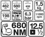 Druckluft-Schlagschrauber, 12,5 (1/2), 610 Nm