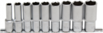 Steckschlüssel-Einsatz-Satz Sechskant, tief Antrieb Innenvierkant 12,5 mm 9-tlg