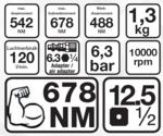 Druckluft-Schlagschrauber, 12,5 (1/2), 678 Nm, extra kurz 98 mm