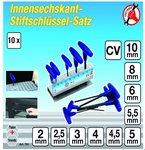 Stiftschlüssel-Satz, Innen-6-Kant, 2-10 mm, 10-tlg.