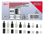 Abstandhalter-Schrauben und Sechskant-Muttern-Sortiment Nylon 300-tlg.