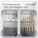 HSS-Spiralbohrer-Satz titan-nitriert 1,5 - 10 mm 15-tlg