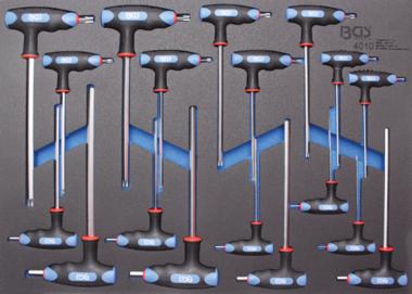 3/3 Werkzeugträger für Werkstattwagen: 18-teilig Int. Verhexen. & T-Star T-Bar Schraubenschlüssel