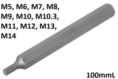 Bit Lange 100mmL Antrieb Außensechskant (3/8) Keil-Profil (fur RIBE)