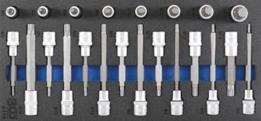 Werkzeugfach 1/3: Bit-Steckschlüsselsatz 12,5 mm (1/2 Zoll) Spline (für XZN) 22-tlg.
