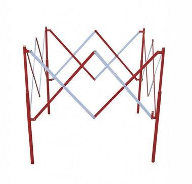 Quadratischer Scherengitterzaun aus Metall Rot/Weiy