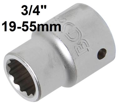 Steckschlussel-Einsatz Zwolfkant Antrieb Innenvierkant (3/4) SW 19-55mm