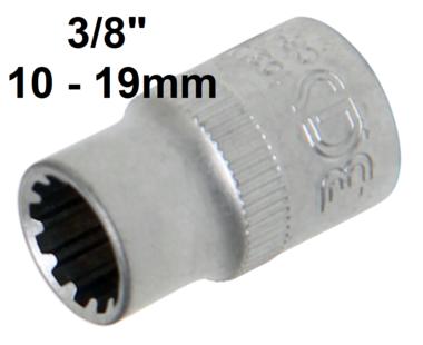 Steckschlussel-Einsatz Gear Lock Antrieb Innenvierkant (3/8) SW 10-19mm