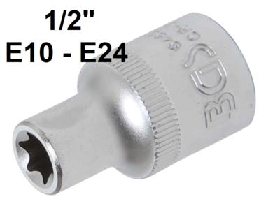 Steckschlussel-Einsatz E-Profil Antrieb Innenvierkant (1/2) SW E10-E24
