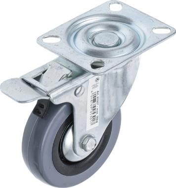 Lenkrolle mit Bremse mit Anschraubsockel durchmesser 75mm