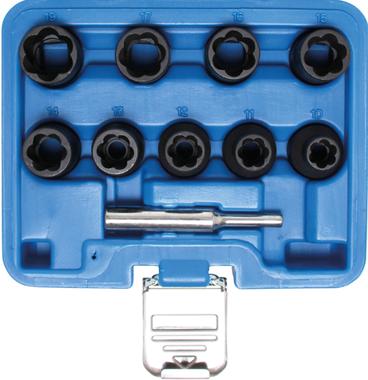 Spiral-Profil-Steckschlussel-Satz / Schraubenausdreher Antrieb Innenvierkant (1/2) SW 10 - 19 mm 10-tlg