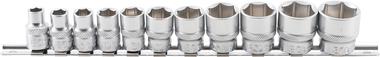Steckschlüssel-Einsatz-Set, 10 (3/8), 6-kant, in ZOLL, 5/16 - 7/8 mm, 11-tlg.