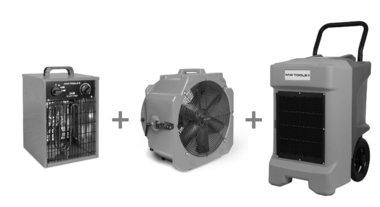 Paket BDE95 Waschetrockner + MV500PPL Ventilator + WEL33 Heißluftgeblase