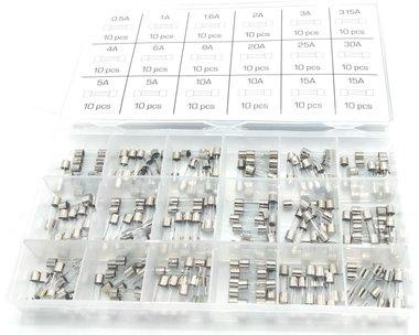 Sortiment Flinke Glassicherungen 0,5A- 15A 180 Stuck