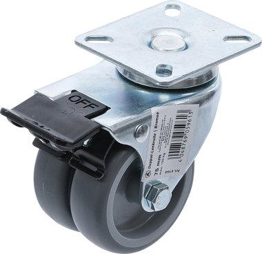 Doppel-Lenkrolle mit Bremse Ø 75 mm