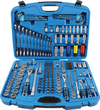 Steckschlüssel-Satz Gear Lock Antrieb 6,3 mm (1/4) / 10 mm (3/8) / 12,5 mm (1/2) 218-tlg