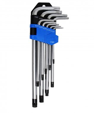 Winkelschlüssel-Satz mit Bohrung auf langer Seite, T-Profil, T10-50, extra lang, 9-tlg.