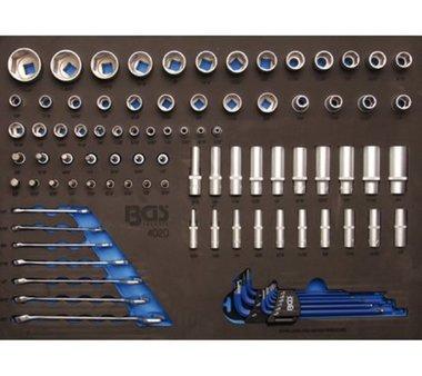 3/3 Werkzeugträger für Werkstattwagen: 90-teilige Steckdosen und Kombischlüssel