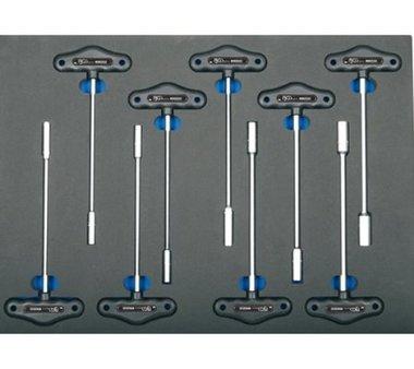 3/3 Werkzeugträger für Werkstattwagen: 9-teiliger T-Griff Steckschlüssel