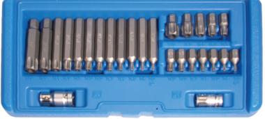 Bit-Satz | Antrieb Außensechskant 10 mm (3/8) | T-Profil (für Torx) mit Bohrung | 26-tlg.