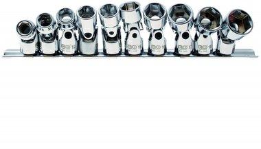 Kardangelenk-Einsatz-Satz Sechskant Antrieb Innenvierkant 10 mm (3/8) SW 10 - 19 mm 10-tlg