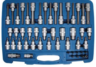 Bit-Einsatz-Satz | Antrieb Innenvierkant 12,5 mm (1/2), Außensechskant 8 mm (5/16) | 49-tlg.