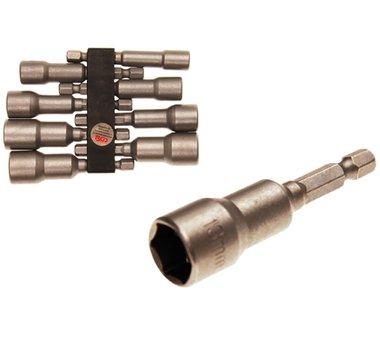 Steckschlüssel-Einsatz-Satz Sechskant | Antrieb Außensechskant 6,3 mm (1/4) | für Bohrmaschinen | SW 6 - 13 mm | 8-tlg.
