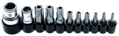 Bit-Satz | Antrieb Außensechskant 10 mm (1/4) / 10 mm (3/8) | T-Profil (für Torx) mit Bohrung | 11-tlg.