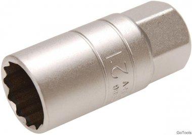 Zundkerzen-Einsatz mit Haltegummi, Zwolfkant Antrieb Innenvierkant (1/2) SW 21mm
