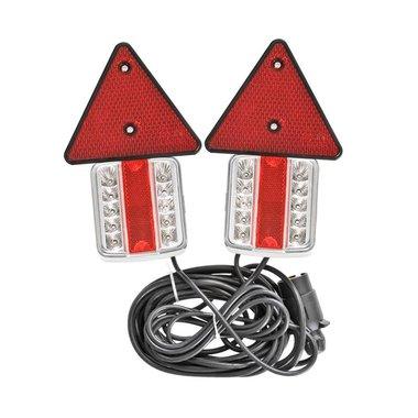Rückleuchten-Set LED auf Magnet mit Rückstrahler 7,5+2,5M Kabel