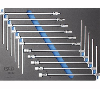 Werkzeugschale 3/3: T-Griff Universal-Gelenksatz 8 - 19 mm 11-tlg