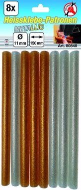 8-teilige Metall-Klebestifte gold / silber, 11 mm