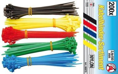 Kabelbinder-Sortiment, 2,4 x 100 mm, 5 Farben, 200-tlg.