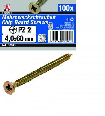 Mehrzweckschrauben 4,0 x 60 mm, 100 Stück