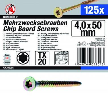 Mehrzweckschrauben, 4,0x50 mm, T20, 125-tlg.