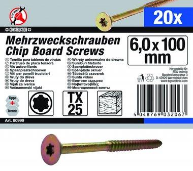 Mehrzweckschrauben, 6,0x100 mm, T25, 20-tlg