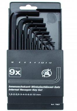 Innen-6-Kant-Winkelschlüssel-Satz, 1,5 - 10 mm, 9-tlg.