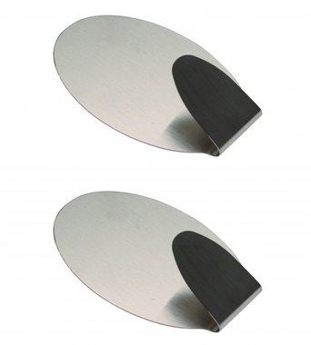 Edelstahl-Klebehaken 2-tlg., 3,5 x 5 cm Traglast max. 1,0 kg
