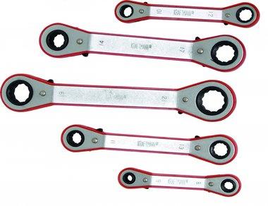 Knarren-Ringschlüssel-Satz, gekröpft , 6x8 - 19x21 mm, 5-tlg.