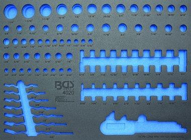 3/3 Werkstattwageneinlage für Steckschlüsseleinsätze / Maulringschlüssel, leer