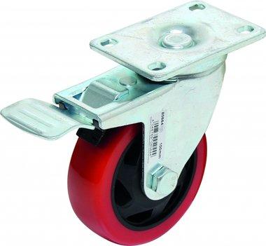 Rolle mit Bremse, rot / schwarz, 100 mm