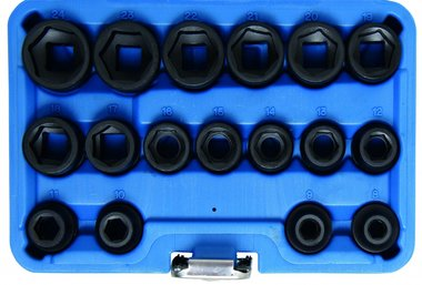 Kraft-Steckschlüssel-Einsätze, 12,5 (1/2), extra flach, 17-tlg.