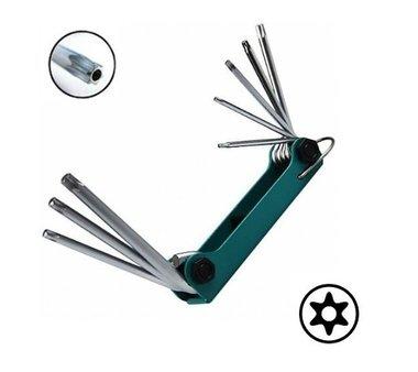 Schlüsselsatz Torx mit Loch einklappbar 8 tlg